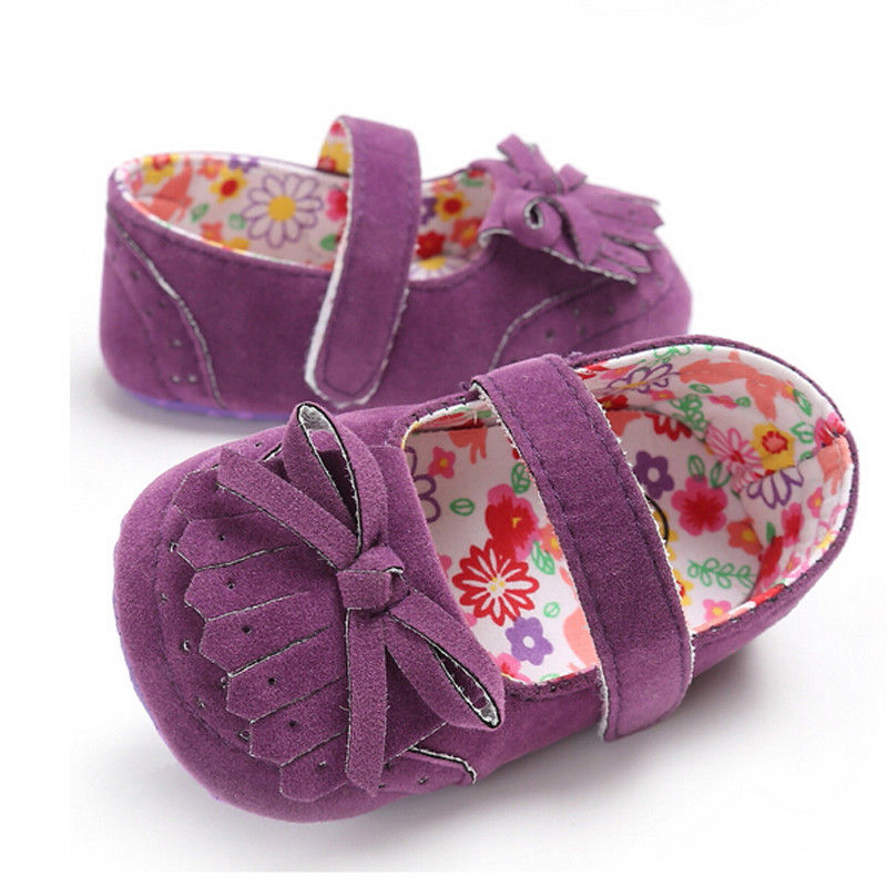 2018 Spring Newborn Baby Girls Princess Shoes Sweet Bowknot Tassels Weeding Party Dress First Walker