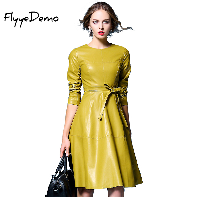 Yellow Black Faux Leather Dress Women 2017 Autumn Leather Formal Bow Dresses Outerwear Long Sleeve Clothes Ladies Soft PU Dress