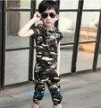 Nova verão 2016 crianças terno Meninos camuflagem uniforme two-piece manga curta T-shirt + calças set