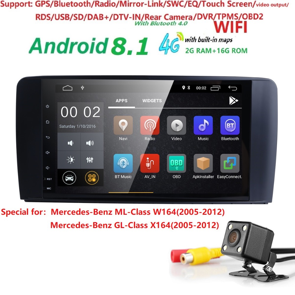 2din Autoradio gps Android 8.1 NO-DVD Multimedia Player per Mercedes Benz ML W164 ML300 GL X164 GL320 350 420 450 500 R W251280