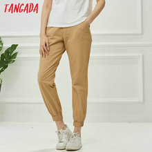 Tangada fashion woman pants women cargo high waist pants loose   trousers joggers female sweatpants streetwear 5A02