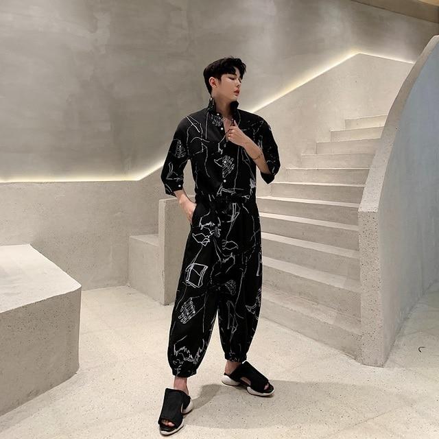 Men Summer Short Sleeve Loose Casual Shirt Jumpsuits Cross Pants Male Streetwear Hip Hop Fashion Overalls Harem Trousers 2