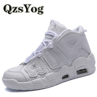 QzsYog Men Basketball Shoes Air Cushion High Top Sneakers Outdoor Sport Athletic Women Leather Ankle Boots