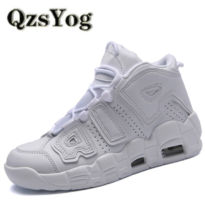 QzsYog Men Basketball Shoes Air Cushion High Top Sneakers Outdoor Sport Athletic Women Leather Ankle Boots Basketbol Ayakkabi
