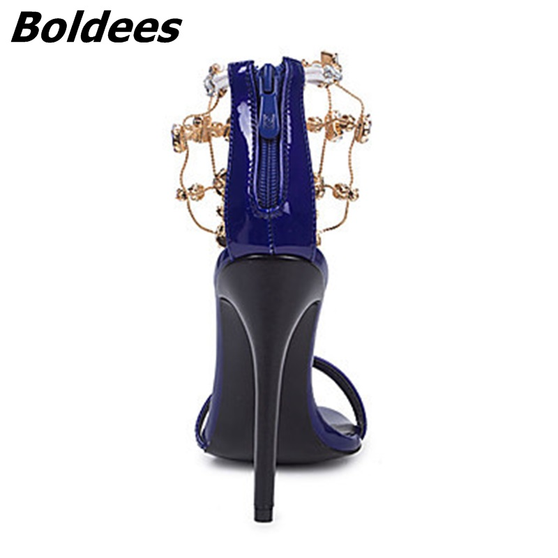 Trendy Designer Sexy Patent Leather Stiletto Heels Shoes Woman Bling Bling Rhinestone Ankle Wraped Dress Sandals Nightclub Shoe - 5