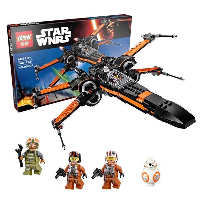 748 unids LEPIN 05004 Star Wars x-wing Fighter Juguete Ensamblado de Primer Orden Poe Conjunto de Bloques de Construcción Ladrillos Compatible Legoed Regalo