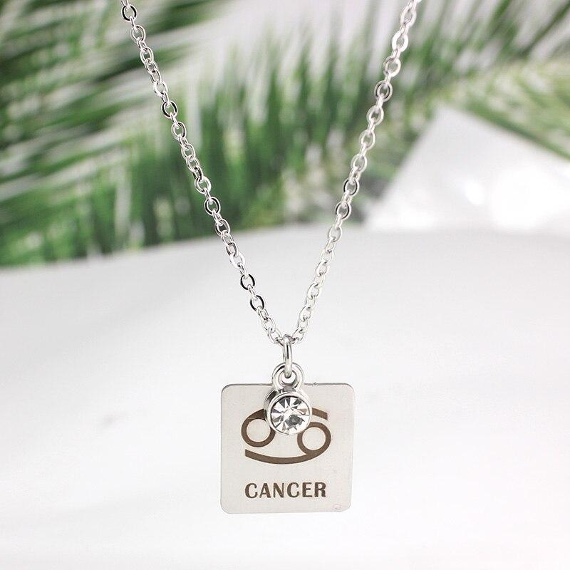 12 знаков зодиака Созвездия кулон ожерелье хрусталь камень ожерелье женщины друг подарок на день рождения ювелирные изделия из нержавеющей стали - Окраска металла: 5