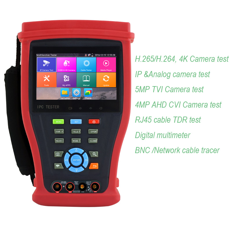 цены  New 4MP AHD CVI 5MP TVI CCTV tester CVBS test monitor 4K H.265 IP camera tester with Digital multi-meter and Cable tracer test