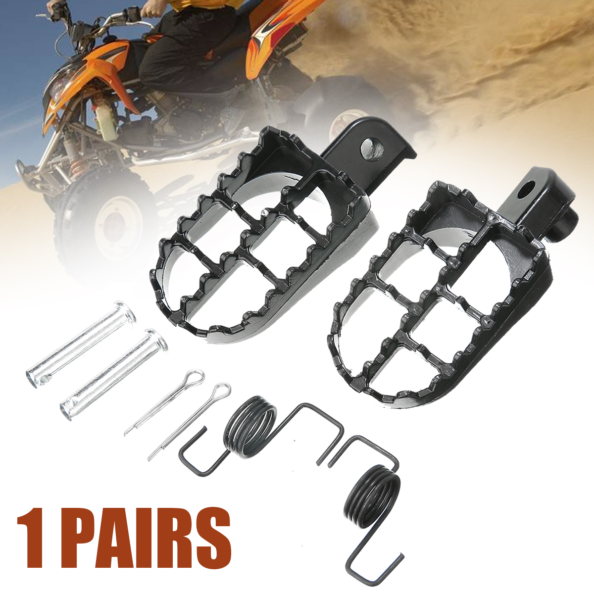 Mayitr 2pcs Black Pit Dirt Bike Foot Pegs Footrest For Yamaha PW50 PW80 For Honda XR CRF 50/70