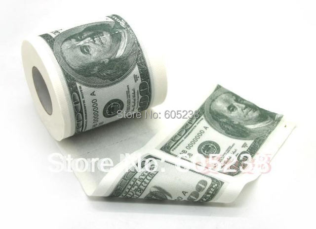 Free Shipping 10Pieces Money Toilet Roll - Dollar Bill Toilet Paper Novelty Toilet Tissue