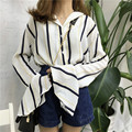 striped big flare bell sleeve blouse elegant shirt women tops fashion chemise femme chemisier camisa y blusa mujer camicia donna