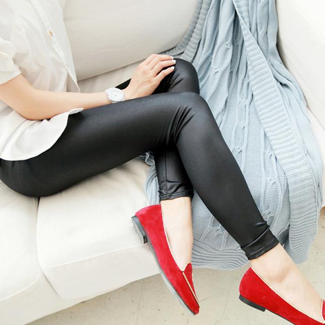 Fashion Faux Leather Sexy Thin Black Leggings