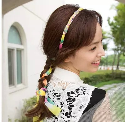 Han edition of the new hair headwear The chain broken beautiful ribbon hair with hair hoop head band qiu dong season with plush slippers female students in the summer of 2017 the new han edition joker fashion wears outside a word
