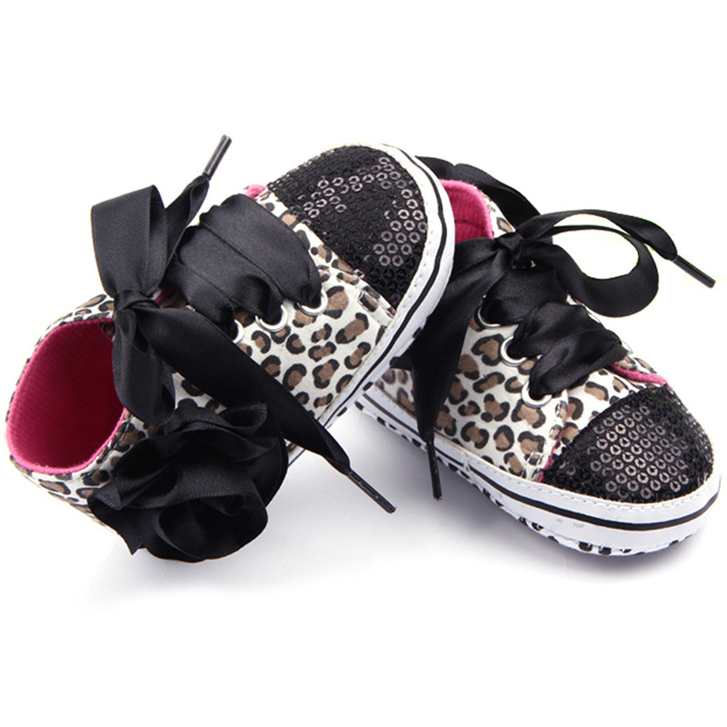 Baby Girls Cotton Floral Leopard Sequin First Walkers Infant Soft Sole Toddler Shoes ...