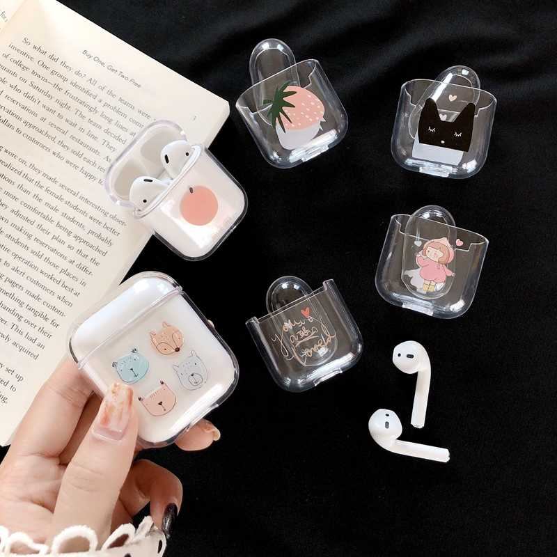 Pour Apple Airpod Etui mignon sans fil Bluetooth casque pour Airpods 1:1 housse Accessori Transparent dur Protection Original Etui