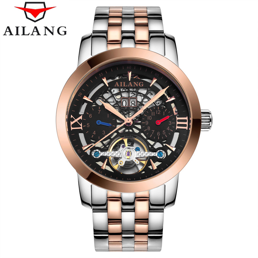 AILANG 2017 Skeleton Watch Full Stainless Steel Mechanical Watch Men Designer Mens Watches Top Brand Luxury Clock Male Relogio tevise men black stainless steel automatic mechanical watch luminous analog mens skeleton watches top brand luxury 9008g