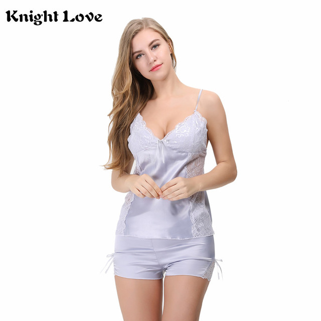 6317558c23 New Sexy Nightgown Lingerie Pajamas Set Patchwork Nightdress Women Sheer  Scalloped Satin Nightwear Silk Slip Sleepwear