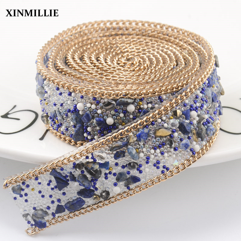 Free shippment!2pcs lot rhinestone diamond Trim bridal beaded appliques  strass crystal mesh chain for wedding dress fabriccrafts e011c31be03c