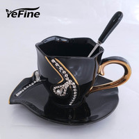 European Fashion Design Creative Gift Lovers Cups 3D Ceramic Mugs With Rhinestones Decoration Free Shipping