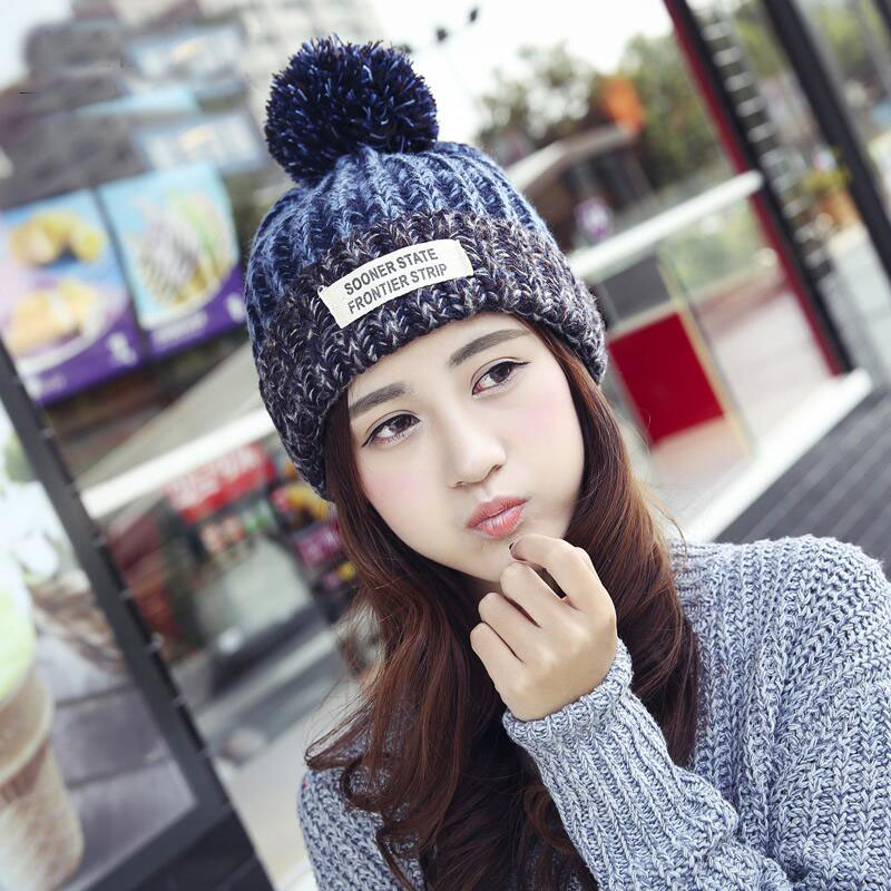 2017 Women's Winter Hat Wool Fashion Wool Cap For Women Female Hat Knitted Letter Adult Beanie Autumn Fall Hat Warm Snow Hat rwby letter hot sale wool beanie female winter hat men