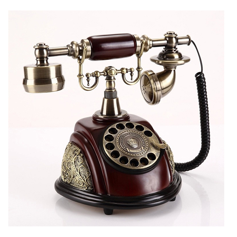 Antique Landline Telephone With Rotary Dial Home Fixed Vintage Phone Without Battery Decoration For Office Hotel Telefone Bronze