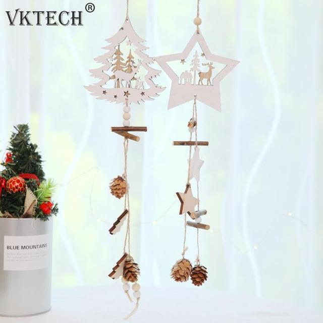 2018 Navided Wooden Five Pointed Star Pendant Christmas Tree Ornaments Hanging Christmas Decorations for Home