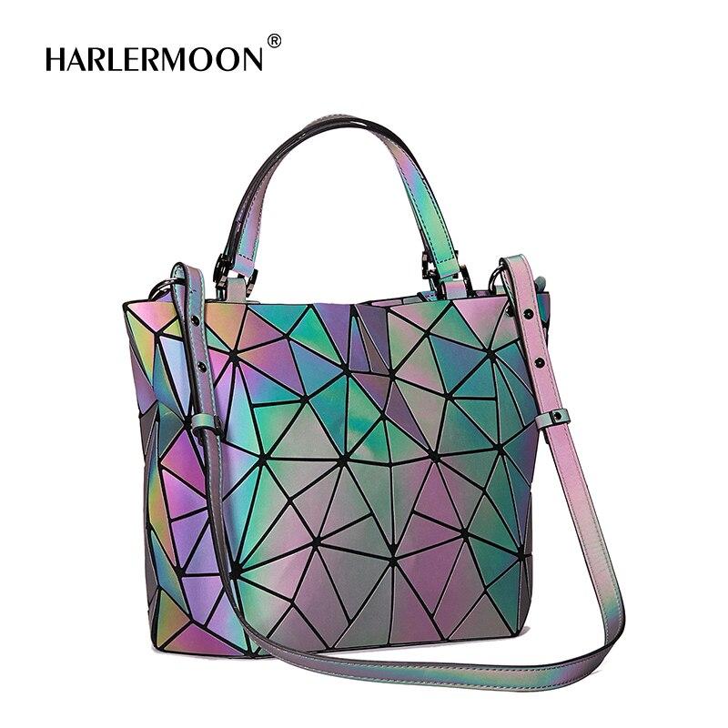 Hot One Geometric Luminous Purses and Handbags Shard Lattice Eco-Friendly Leather Rainbow Holographic Purse Large Size Briefcase
