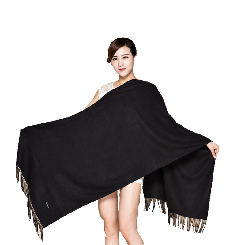 Winter New White 100% Soft Women's New Lengthen Tippet Fashion Fine Tassels Cashmere Pashima Long Shawl   Scarfs     Wrap   Warm