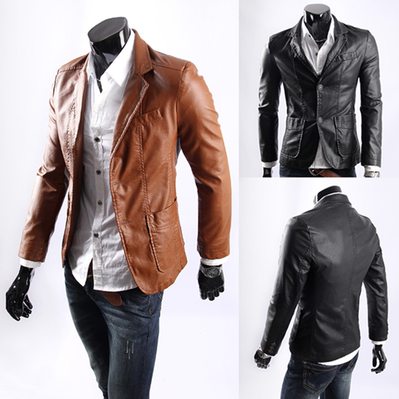 اندازه بزرگ ۲۰۱۸ سبک جدید کاپشن چرمی مردانه لاغر لباس چرمی مردان بیرونی مردان کت اندازه M-7XL