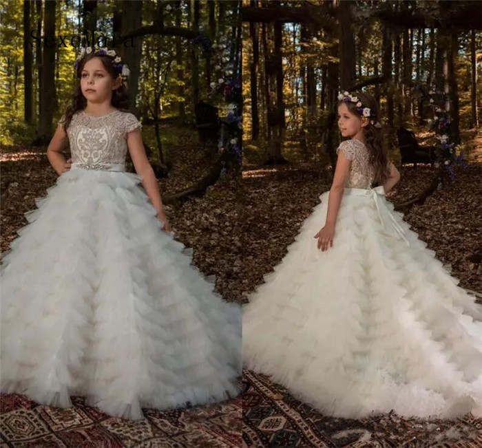 Princess Flower Girl Dresses For Wedding Tiered Tulle Beads Lace Jewel Girls Party Birthday Dress Floor Length Pageant Gown цена