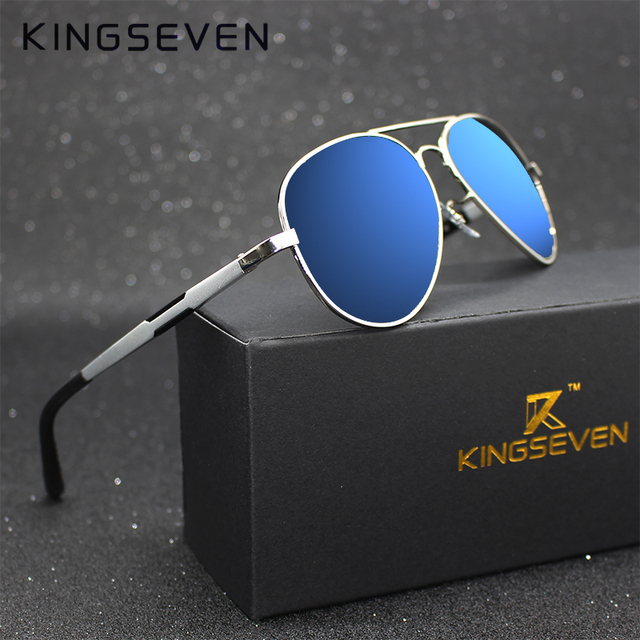 f013380a2ec Kingseven Aluminum Magnesium Gold Fashion Polarized Lens Sunglasses Men Women  Driving Mirror Sun Glasses Points