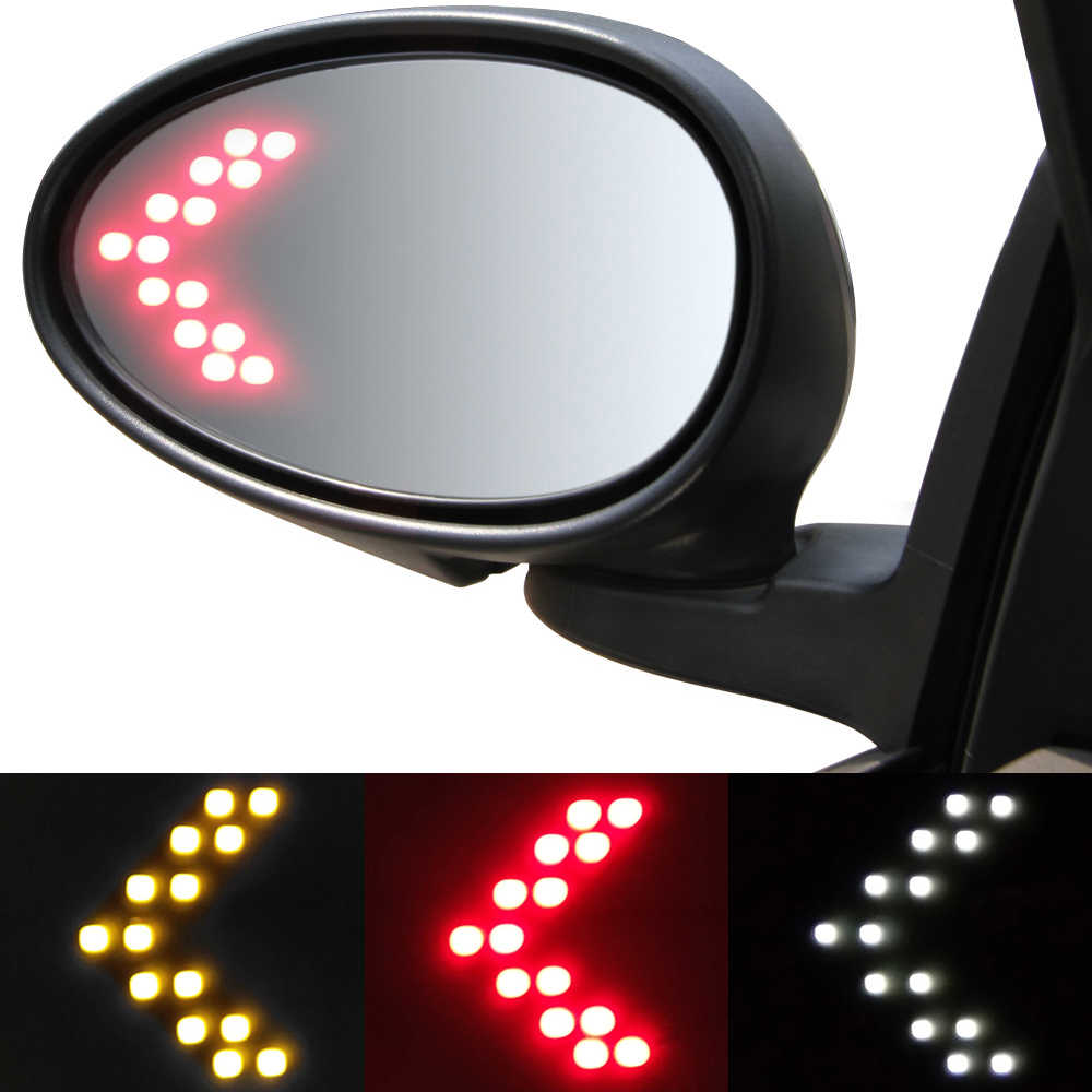 2PCS Red Yellow White Hidden Universal Rearview Mirror Turn Signal Auto Driving Warning Light LED 12V Exterior Car Tuning