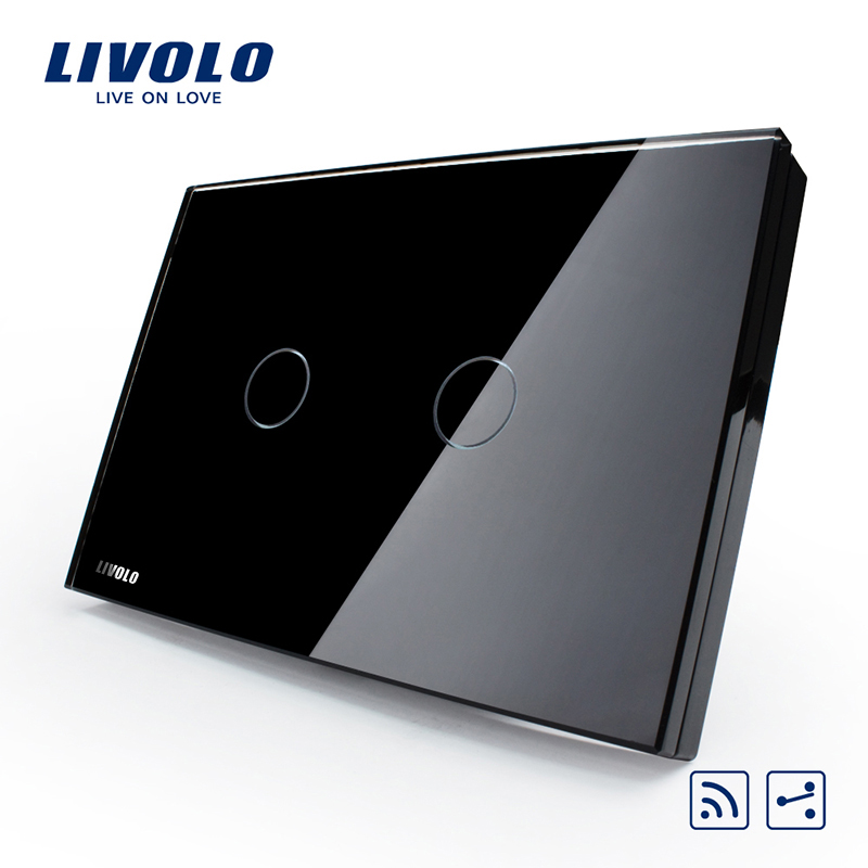 Livolo US/AU standard 2gang 2-Way Remote Home Wall Switch, Black Pearl Crystal Glass Panel, VL-C302SR-82,No remote controller us au standard 2 gang 1 way glass panel smart touch light wall switch remote controller white black gold