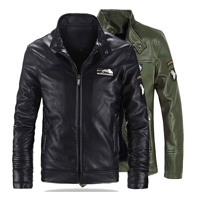 New 5XL 6XL Brand Mens Leather Jacket Fashion Stand Collar Male PU Air Force One Pilot Leather Jackets Men Moto Jacket Coat AF51
