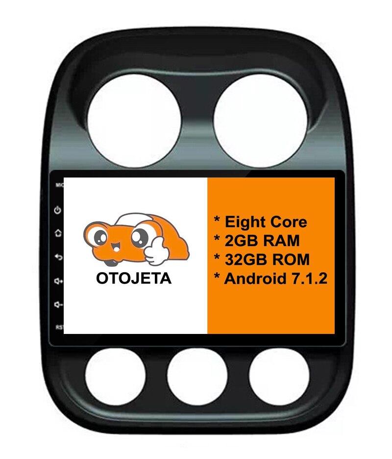 Huit Core Android 7.1.2 2 GB RAM OTOJETA voiture dvd POUR Jeep Compass PATRIOT stéréo écran tactile radio gps 1080 p DVR/WIFI/3G/4G