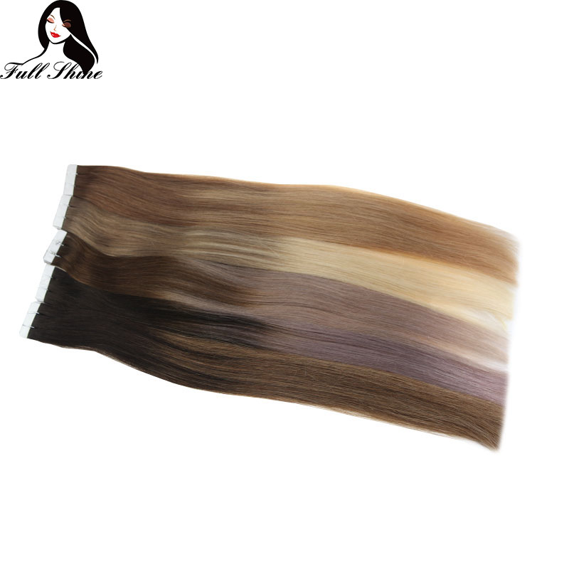Full Shine Balayage Tape In Hair Extensions 100% Real Human Hair Tape In Seamless 40 Gram 20pcs Tape On Hair Machine Made Remy