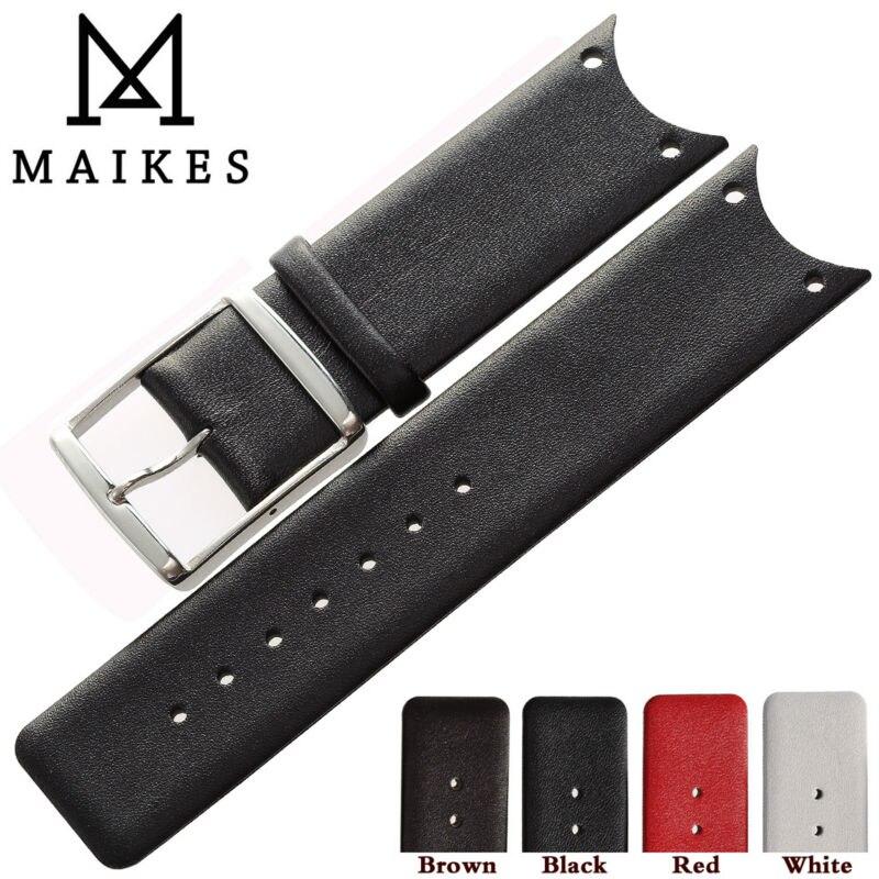 MAIKES bonne qualité en cuir véritable montre bracelet bande accessoires mode noir bracelets de montre pour CK Calvin Klein KOH23100 KOV231