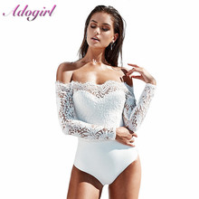 Adogirl Sexy Lace Off The Shoulder Bodysuit Woman Casual Patchwork Backless Low Out Skinny Jumpsuit Romper Body Top Clothes Lady lace insert backless cold shoulder romper