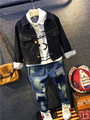 Boys Cowboy Suit Children Clothing Fashion 2016 Cotton Blue Shirt Jeans Coats Pants Kids Wear Sets Boys Clothing children coat