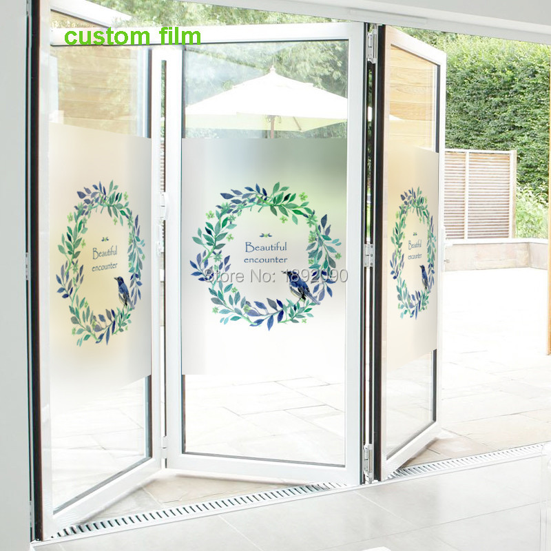 Custom free size stained static cling window film privacy frosted home decor glass stickers flower ring floral in decorative films from home garden on