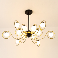 Modern Chandelier Glass LED Light Fixtures Living Dining Room Bedroom Black Gold Chandelier Lighting lamparas de techo lustre