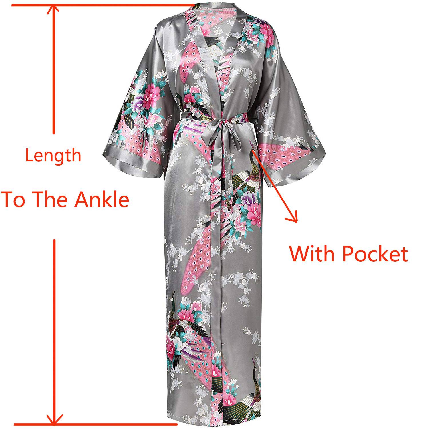 Gray Women Long Printed Robe Floral&PEACOCK Bride Bridesmaid Dressing Gown Rayon Sleepwear Leisure Kimono Bathrobe Wedding Gift