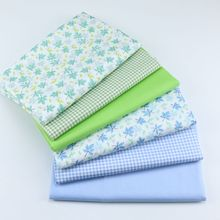 Green Leaf Plaid Printed Cotton Twill Fabric Patchwork Textile Cloth DIY Sewing Quilted Dress Sunscreen Clothing