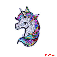 Pulaqi Unicorn Sequin Patch Iron On Cartoon Patches Rainbow Horse DIY  Sewing Accessories Decoration For Clothes Badge F