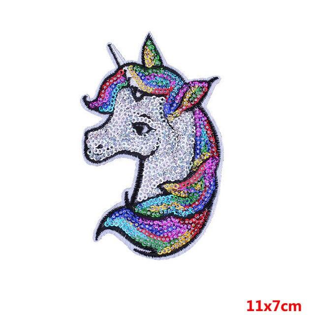 Pulaqi Unicorn payet arma Demir On Karikatür Yamalar Gökkuşağı At DIY Dikiş Aksesuarları Dekorasyon Için Giysi Rozeti F