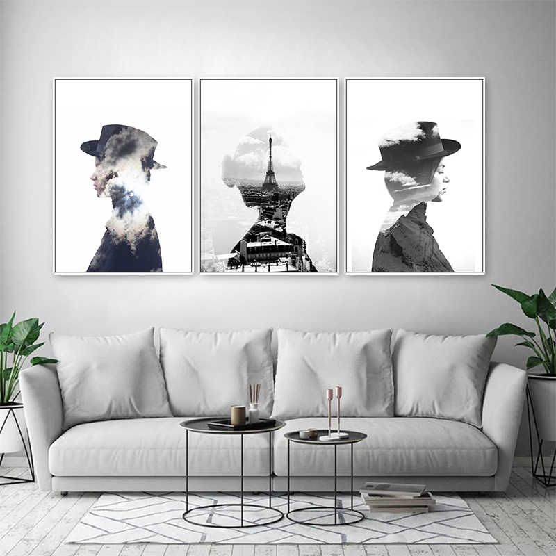 Abstract Fashion Figure Canvas Print Paintings Nordic Scandinavia Poster POP Wall Art Pictures for Living Room Home Office Decor