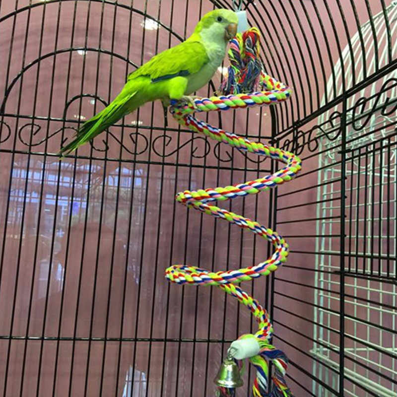 50cm New Parrot Toy Rope Braided Parrot Pet Chew Rope Budgie Perch Coil Bird Cage Cockatiel Toy Pet Birds Training Accessories