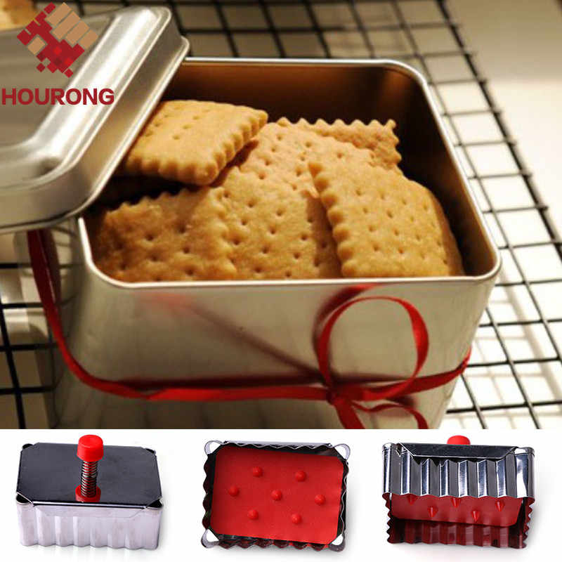 HOURONG New Arrival 1Pc DIY Square Biscuit Cookie Cutters Stainless Steel  Fondant Pressed Cookie Cutters Home Baking Tools