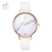 Shengke Fashion Women Watches Elegant Female Wrist Watches  White Leather Watches Quartz Clock Montre Femme Marble Dial 2017 SK