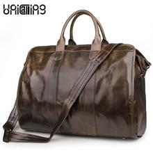 Boston bag leather vintage men business bag handbag large capacity crossbody genuine leather handbag can hold 17 inch laptop